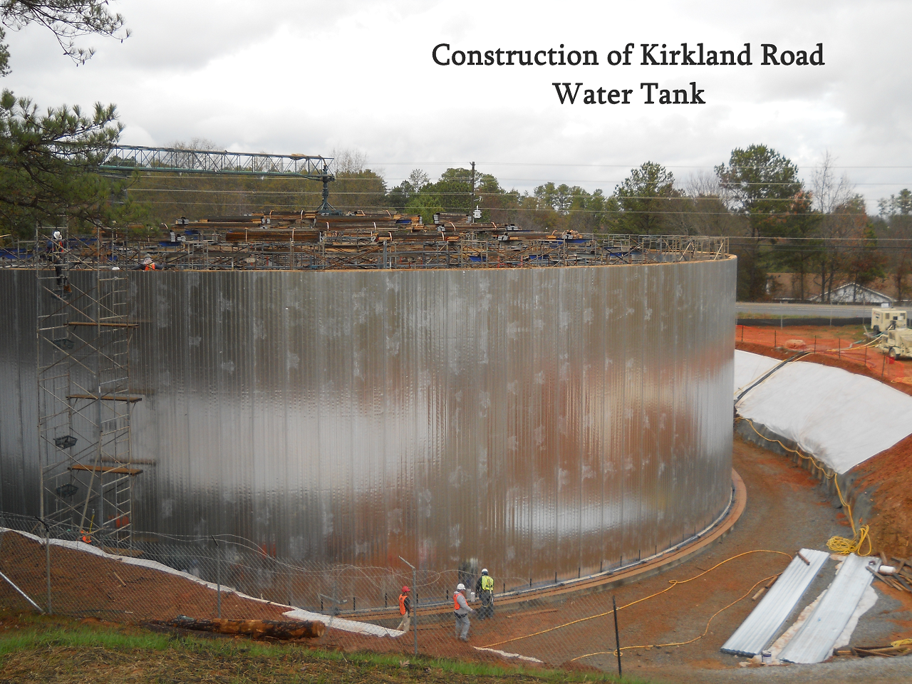 construction of kirkland road water tank scene