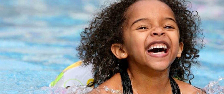 young girl swiming